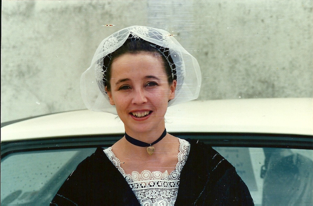 Claire wearing a traditional breton costume.